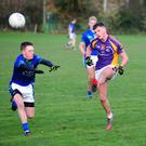 Tom Fox clears his lines for Kilmacud Crokes during Saturday's Under-21A semi-final against St Sylvester's at Broomfield