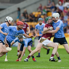 Cathal Mannion of Galway in action against Shane Bennett of Dublin during the Leinster GAA Hurling Senior Championship quarter-final match between Galway and Dublin at O'Connor Park, Tullamore. Photo by Daire Brennan/Sportsfile