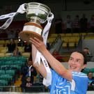 Sinead Aherne holds the cup aloft after Dublin's victory over Westmeath. Pictures: GAApics.com