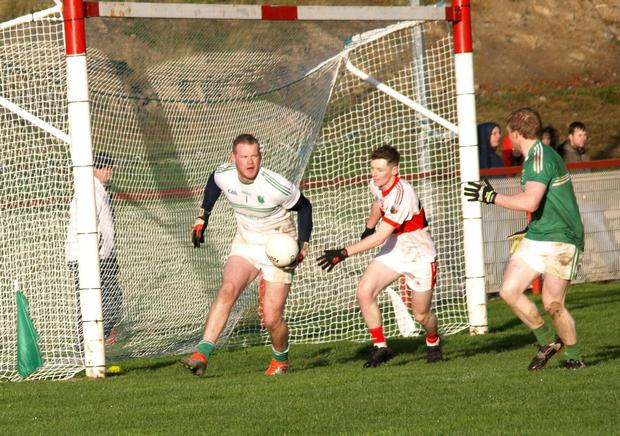Goalkeeper David Downey clears his lines during Ballyboughal's epic Leinster Intermediate Championship tie with Emo.
