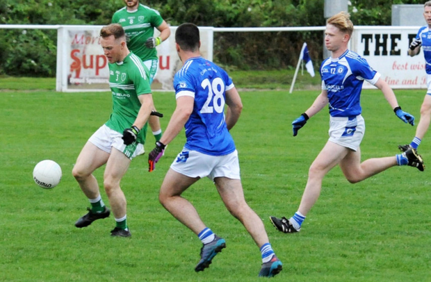 Johnathan Rooney of Ballyboughal clears his lines during last Wednesday's AF2 clash against Skerries Harps