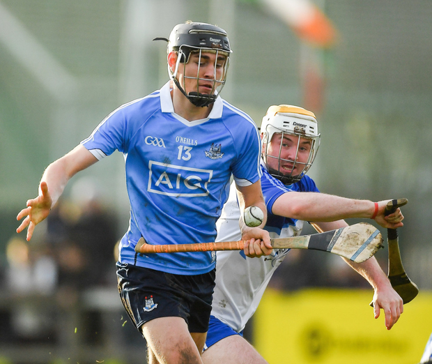 Ronan Hayes of Dublin in action against Conor Kelly and Ryan O'Dwyer, right, of Dubs Stars during the Annual Dubs Stars Hurling Challenge. Photo:PiarasÓMídheach/Sportsfile