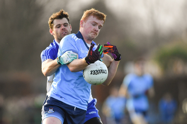 Dublin's Conor McHugh tries to shake off Kevin McManamon of Dubs Stars during the Dubs Stars Football Challenge at Naomh Barróg. Pic:Sportsfile
