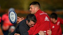 Peter O'Mahony tackles Conor Oliver during a Munster Rugby squad training session last year. Photo by Brendan Moran/Sportsfile