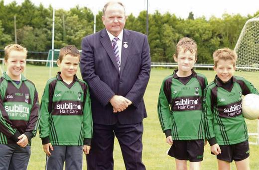 GAA President Liam O'Neill with Tristan Rogers, Josh Rogers, Oisin Finnan and Karl Murray during his recent visit to the St Patrick's Donabate club.