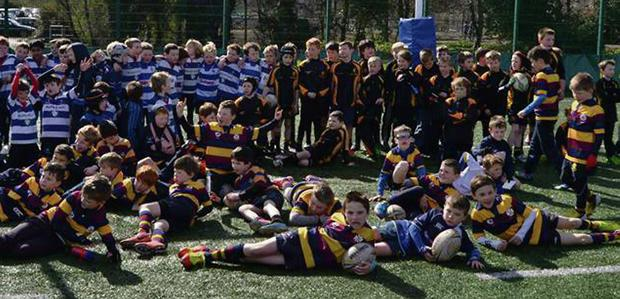 Some of the Skerries Under-9s take a breather between games against Blackrock and Malahide.