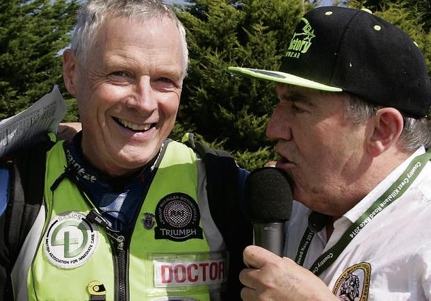 Retiring travelling doctor Fred McSorley MBE gets quizzed by Jack Corry on his final day at a southern road race. Pic: Baylon McCaughey