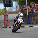 Alan Bonner in full flight with both wheels off the ground during the Superbike TT. Photo Jack Corry