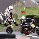 Jamie Coates goes airborne under heavy braking as he tried to catch Andrew Irwin at the recent Mini Moto and Pit Bike race meeting at Aghadowey. Photo Baylon McCaughey