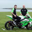 It might not be the Isle of Man in the background, but the Skerries Islands form the backdrop for the launch of NW Racing with Derek McGee riding the new BMW for sponsor Noel Williamson. Photo Jack Corry
