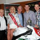 Pictured at the launch were (l to r) Sean Crawford (sponsor, JFM Haulage), Yasmine Browne (Miss Mid Antrim 150 2016), Jack Agnew (chairman, Mid Antrim 150 Club) and local racers Neil Kernohan and Barry Davidson