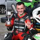 Aaron Clifford proudly holds the Davy Wood Trophy after winning the two 600 races at Bishopscourt this season. Photo: Baylon McCaughey