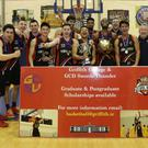 Griffith College Dublin, the team affiliated to Swords Thunder, celebrate their win in the NBCC Division 1 Final. Picture:Adrian Hogan