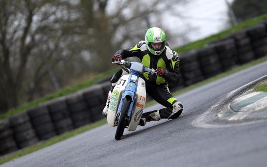 James Kelly shows the style that saw him part of the winning team in the 90s standard class in the Nifty Fifty at Mondello Park. Photo Pat Nolan.