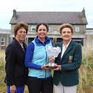 Irish Women's Open Stroke Play Championship winner Maria Dunne (Skerries) at County Louth Golf Club with Lady Captain of County Louth GC Jackie Quinn and President of the ILGU Vonnie Noonan. Picture: Jenny Matthews