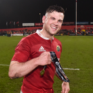 Former Skerries player Conor Oliver after the final whistle at the Guinness PRO12 Round 19 match between Munster and Glasgow Warriors in April