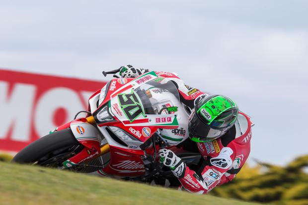 Eugene Laverty in action at the World Superbike round in Phillip Island, where he, at last, got the Aprillia to the pace he wanted - before he crashed out. Photo courtesy of Andrew Gosling