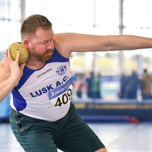 Colm Donoghue of Lusk AC competing in the M40 shot putt during the Irish Life Health National Masters Indoor Championships at Athlone IT. Photo: Sam Barnes/Sportsfile