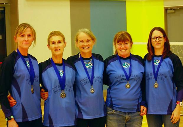 Balbriggan & District AC had a number of medal-winning athletes from the recent Frank Duffy 10-mile road race, held in Swords and pictured (l to r) are Anne O'Brien (1st Over-40 & 1st Over-35 team), Dolores Kelly (1st Over-55 & 1st Over-35 team), Jean Timmins (2nd Over-60), Noeleen O'Hagan (1st Over 60) and Niamh Herbert (1st Over-35 team)