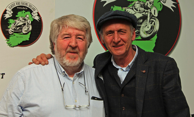 The new President of the Classic Bike Racing Club Gerry O'Sullivan with his great friend and top TT rider Dave Madsen Mygdal. Photo Jack Corry