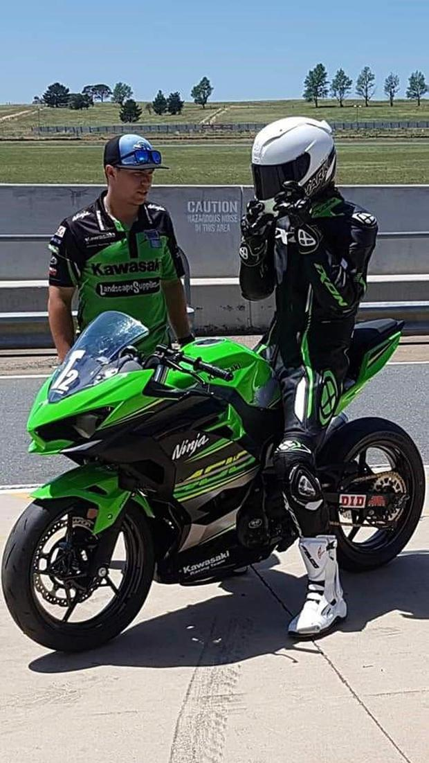 Callum O'Brien gets ready for his first test on the new Kawasaki at Philip Island