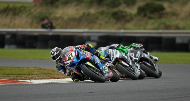 Sunflower Trophy winner Richard Cooper leads Michael Laverty and Danny Buchan at Bishopscourt, but he will have a different challenge at the North West 200 in May. Photo: Jack Corry