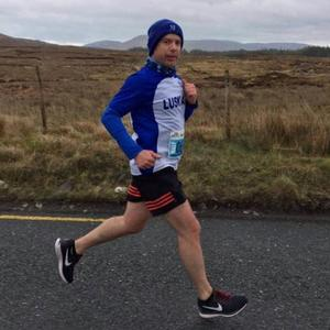 Richard Foy of Lusk AC looks relaxed as he piles on the miles during the Connemara Half-Marathon on Sunday