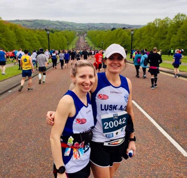 Sinead Sharkey and Fiona Reinhardt of Lusk AC at the start of the Belfast Marathon in Stormont