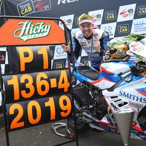 Peter Hickman (Smith's Racing BMW) celebrates after setting a new world record lap speed at 136.415mph at the 2019 fonaCAB Ulster Grand Prix. Photo: Stephen Davison