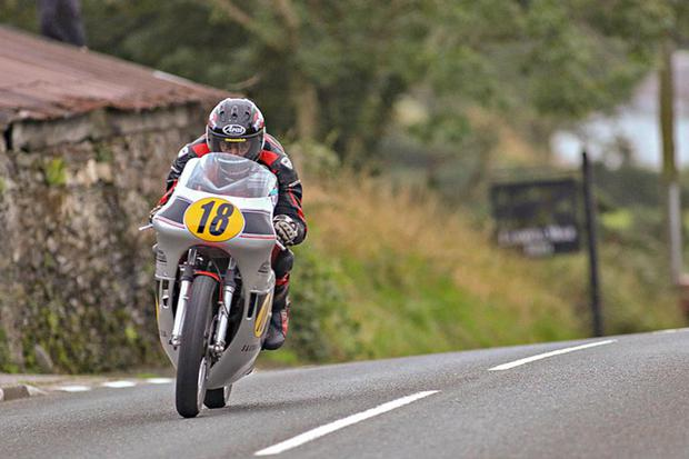Derek Sheils is totally focussed in the Senior Classic TT where he finished sixth. Photo Baylon McCaughey