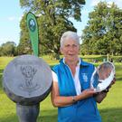 Pat Doran of Donabate proudly shows off the Irish Women's Open Stroke Play trophy. Picture: Pat Cashman