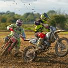 Shane Valentine took all three wins in the Youth 125 class and here he leads Evan Clarke. Photos Adam McMahon