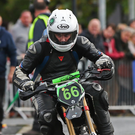 Pit Bike winner Ed Manly concentrates hard at the Spirit of Dunboyne. Photo: Joe Connolly