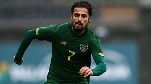 Zack Elbouzedi in action for the Republic of Ireland under-21s.
