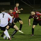 Malahide United seem to have extra numbers during Friday night's 1-0 home victory over Cherry Orchard.