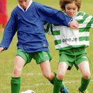 James Love of St Ita's Portrane tries to shake off Skerries Town's Cian Delaney during the Under-10 match at Ballymastone on Saturday. Picture: Fintan Clarke