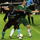 Glebe North's Noel Barrett keeps tabs on Ayomide Ajijediaun of Parkvilla during Friday's Metropolitan Cup tie