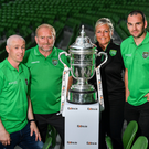Representatives from Glebe North FC (left to right) Duane Crean (assistant manager/coach), Hugh Reilly (club chairman), Kathryn Kennedy (PRO) and Noel 'Podge' Barrett (team captain) pictured with the cup during last week's Extra.ie FAI Cup first round draw at Aviva Stadium. Photo: Sam Barnes/Sportsfile