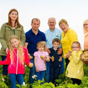Three generations of the Pettit family pictured on their potato farm in Carne with Aoife Hearne, Dietitian