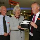Murtagh Joyce, Madeleine Quirke CEO Wexford Chamber and Derek Joyce with the just released Sony VR Headset for the Playstation at the recent Wexford Chamber Business After Hours event at Joyces.