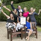 The Monart Destination Spa team accepting their Spa of the Year award, Catherine Kinsella, Laura Gahan, Mark Browne, Amy Kenny, Lorna Murphy, Kelly McMullen, and Janine Carleton at the recent Irish Tatler Spa Awards at the Thomas Prior Hall in Ballsbridge, Dublin