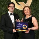 Jamie Pettitt pictured with Soried McEntee from EIQA at the National Q Mark awards
