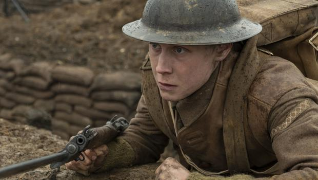 George MacKay as Lance Corporal William Schofield in 1917