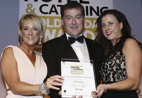 Sybil Mulcahy of TV3; Michael Cunningham, General Manager, Seafield Hotel; and Maron Hayden of Manager of Oceo Spa, Seafield.