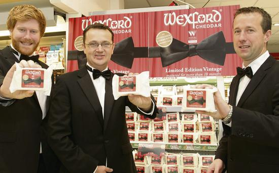 Seamus Redmond of Wexford Festival Opra, Neil Murphy of Wexford Creamery and Padraig Doran of Pettitt's SuperValu at the launch of special edition Cheddar at Pettitt's SuperValu at St Aidan's last week