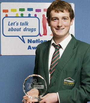 Michael Dwyer, winner of the 'Let's Talk About Drugs' National Media Awards, from Gorey Community School.