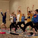 The Wexford senior camogie team do their yoga stretches in The Ashdown Park Hotel, Gorey