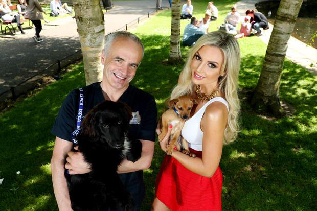 Pete with Rosanna Davison at the launch of Spay Aware 2018