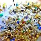 Microplastics - tiny plastic shards broken down from man-made products such as synthetic clothing, car tyres and contact lenses. Stock picture