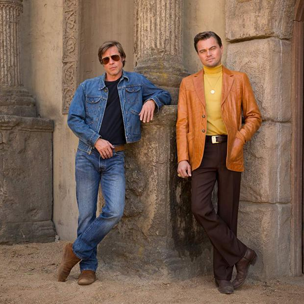 Brad Pitt as Cliff Booth and Leonardo DiCaprio as Rick Dalton in Once Upon A Time... In Hollywood
